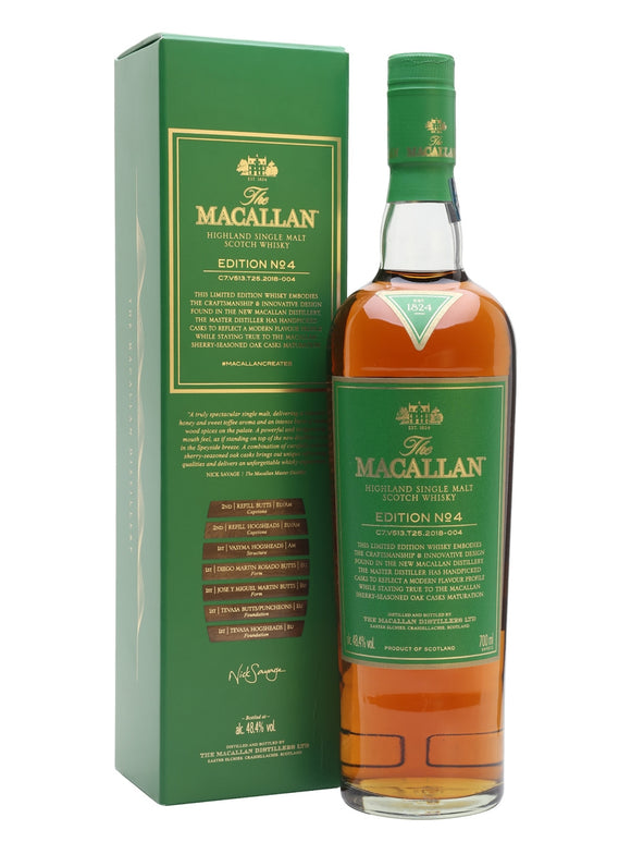 Distillery: The Macallan Name: Edition 4 Volume: 70CL ABV: 48.4% Notes: For Sale In Singapore Only Origin: Craigellachie, Speyside, Scotland