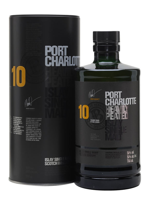 Distillery: Bruichladdich Name: Port Charlotte 10 Years Volume: 70CL ABV: 50% Notes: Single Malt Origin: Rhinns of Islay, Islay, Scotland