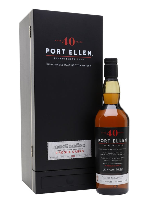 Distillery: Port Ellen Name: 40 Years ( 9 Rogue Casks - 2020 ) Volume: 70CL ABV: 50.9% Notes: For Sale In Singapore Only Origin: Scotland