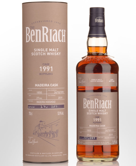 Distillery: Benriach Name: 27 Years 1991 Single Cask No. 1850 Volume: 70CL ABV: 53.9% Notes: Single Malt Origin: Morayshire, Speyside, Scotland