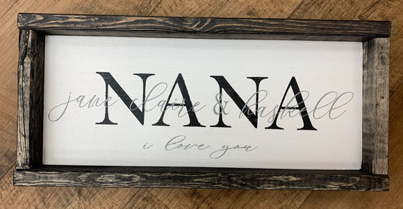 Personalized Nana Framed Board Sign