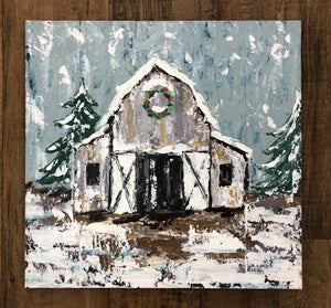 Winter Barn Painting on Pallet Board
