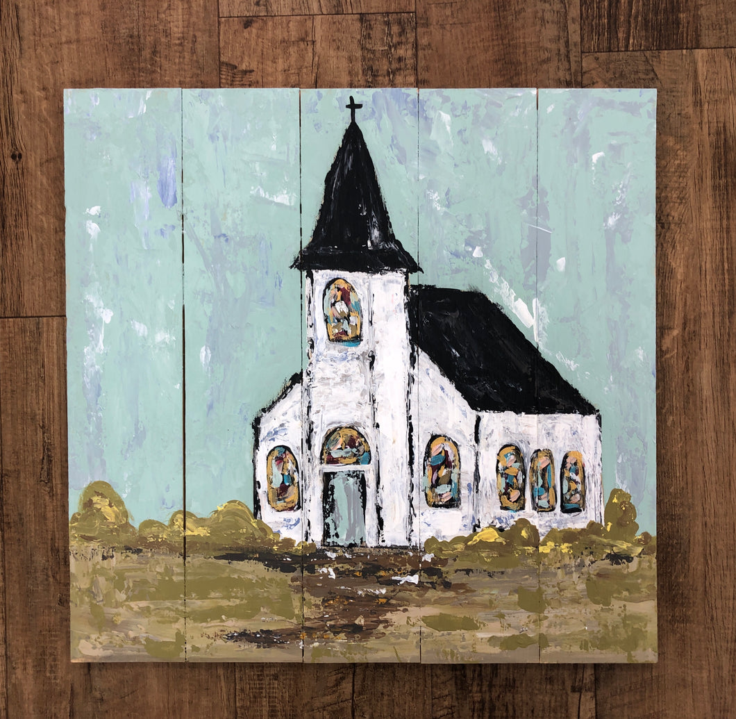 Church Painting on Pallet Board