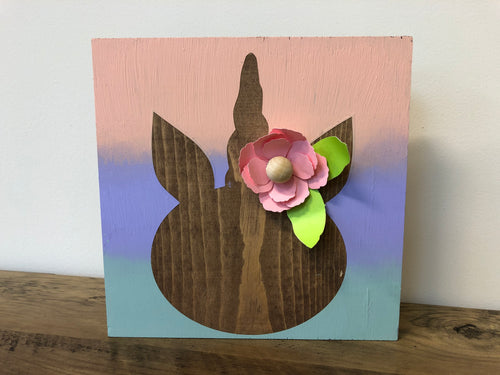 Unicorn Wooden Sign with Paper Flower Embellishments