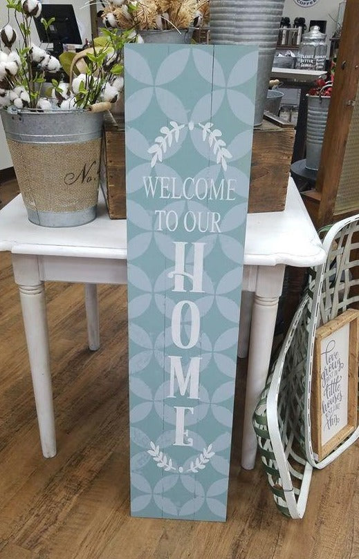 Geo Pattern Welcome to our Home Porch Sign