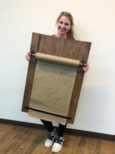 Load image into Gallery viewer, Large Wooden Paper Roll Holder Reserve a Seat Workshop Project