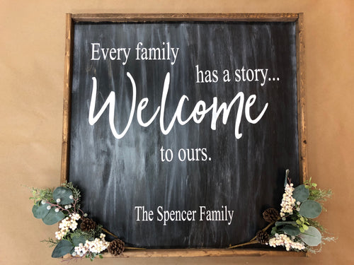Every Family Has A Story Welcome to Ours Sign (MH2)