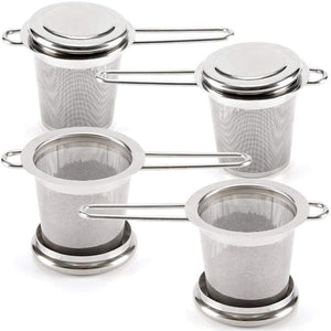 Tea Infusers for Loose Leaf Tea [Set of 4] Stainless Steel Fine Mesh Tea Strainer with Handle and Lid, Reusable Tea Steeper for