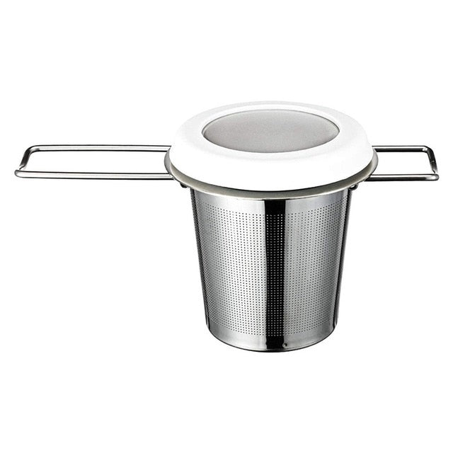 Mesh Tea Infuser Stainless Steel Thicken Tea Strainer Foldable Double Handles Tea Steeper Filter with Drip Tray Fit Teapots,Cups