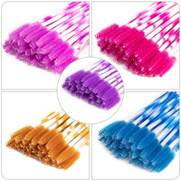 50Pcs/Pack Disposable Colorful Eyelash Brushes Plastic Handle Eyebrow Mascara Applicator Eyelash Extension Makeup Tool