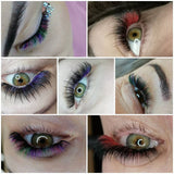 6 coloured eyelashes extension CC curl 0.07,  16rows