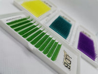 Green eyelashes extension 0.07 C curl Mix size 8-13mm