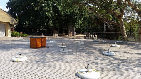 The Cattle Baron deck at Skukuza, empty except for a few surprised Vervet monkeys. Image: Into the Kruger