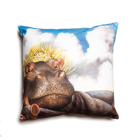 Wildlife Cushion Cover - Hippo