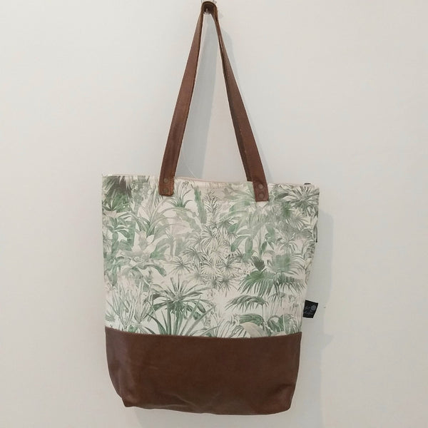 Forrest fabric and leather handbag