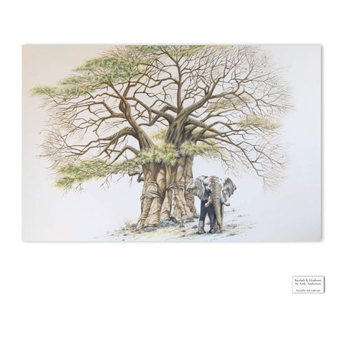 Original Artwork - Andy Anderson - Baobab Tree and Elephant