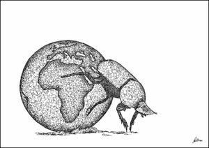 "Dung beetle ""What really pushes earth around"" Limited Edition Print"
