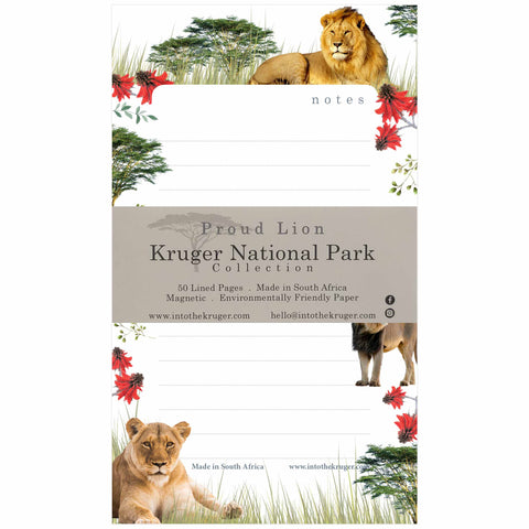 Wildlife Note Pad - Kruger National Park -Lion