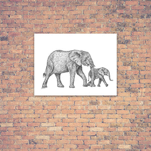 Original Artwork - J Patterson - Mother and Baby Elephant