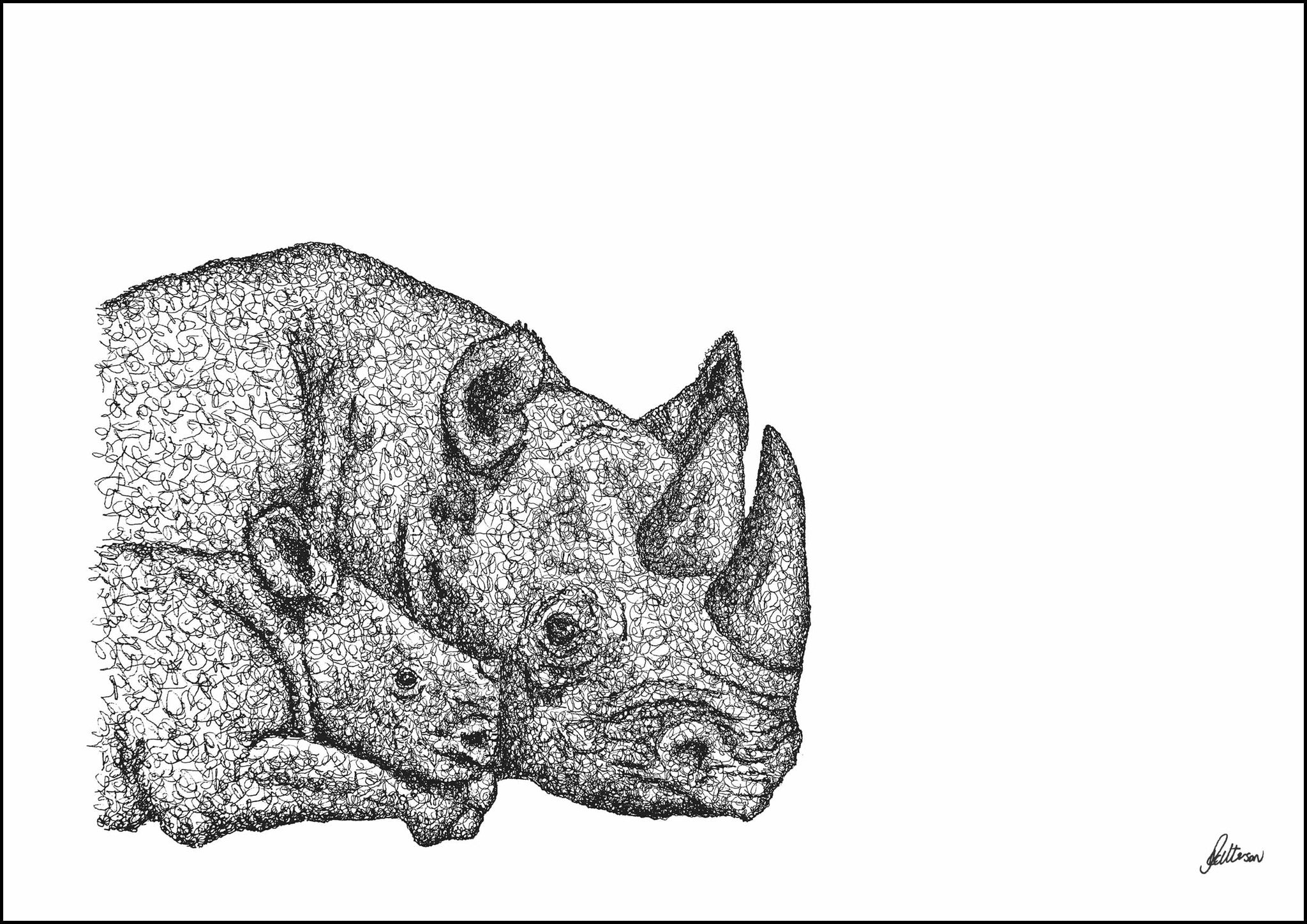 Mother and Baby Rhino Limited Edition Print