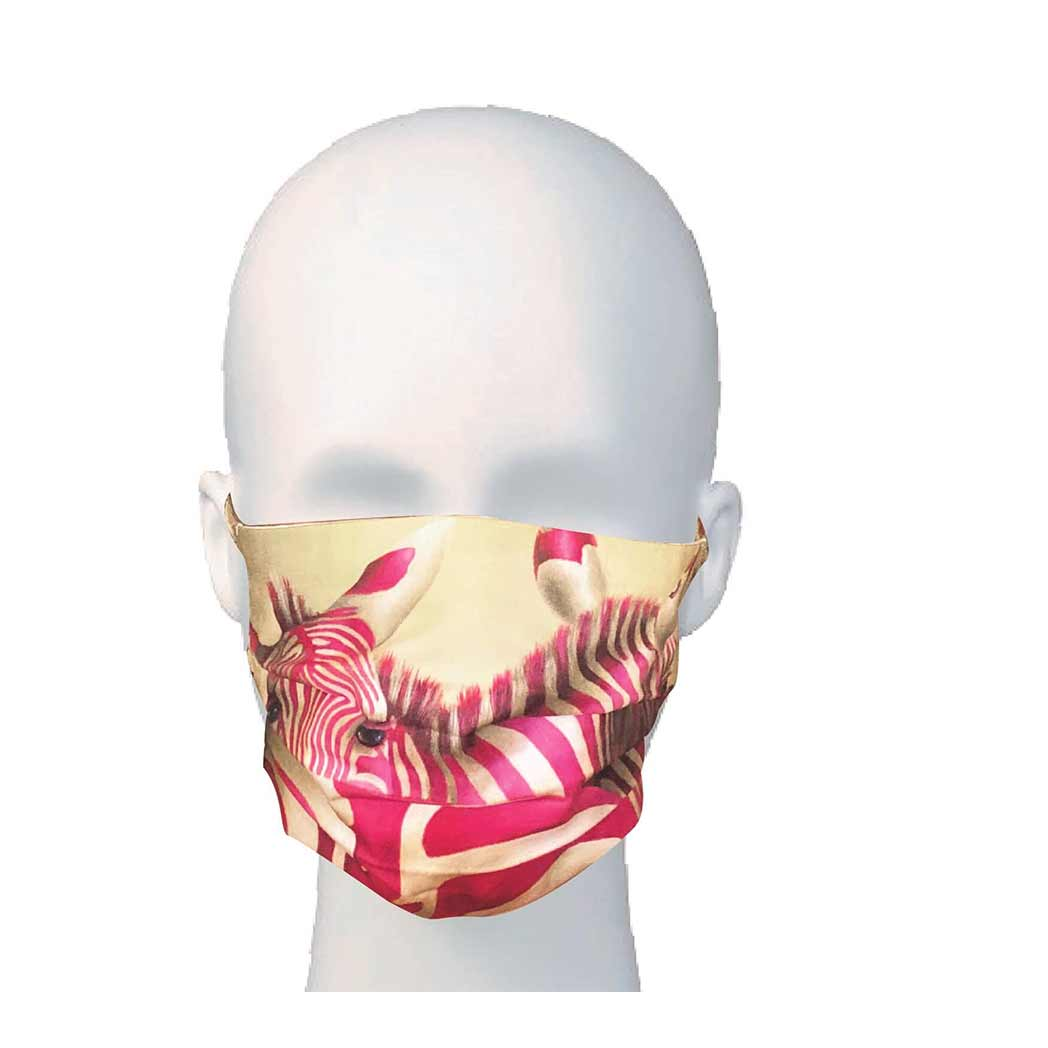 Face Mask - Pink Zebra Design - Pleated