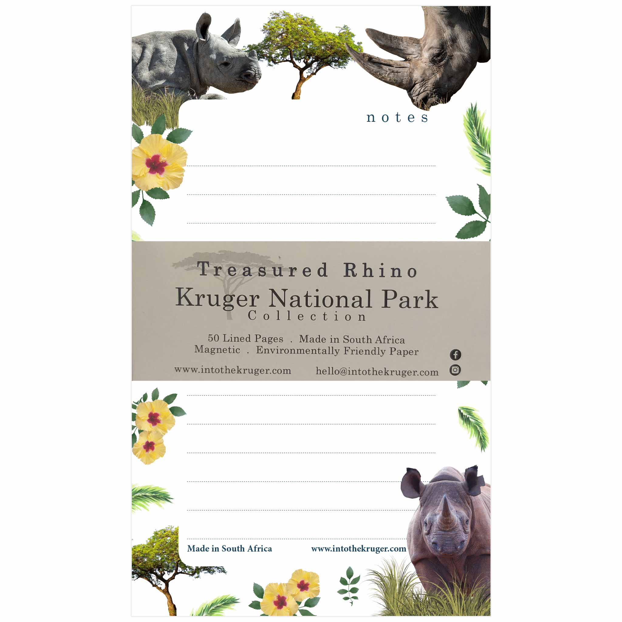 Wildlife Notepad - Kruger National Park - Rhino