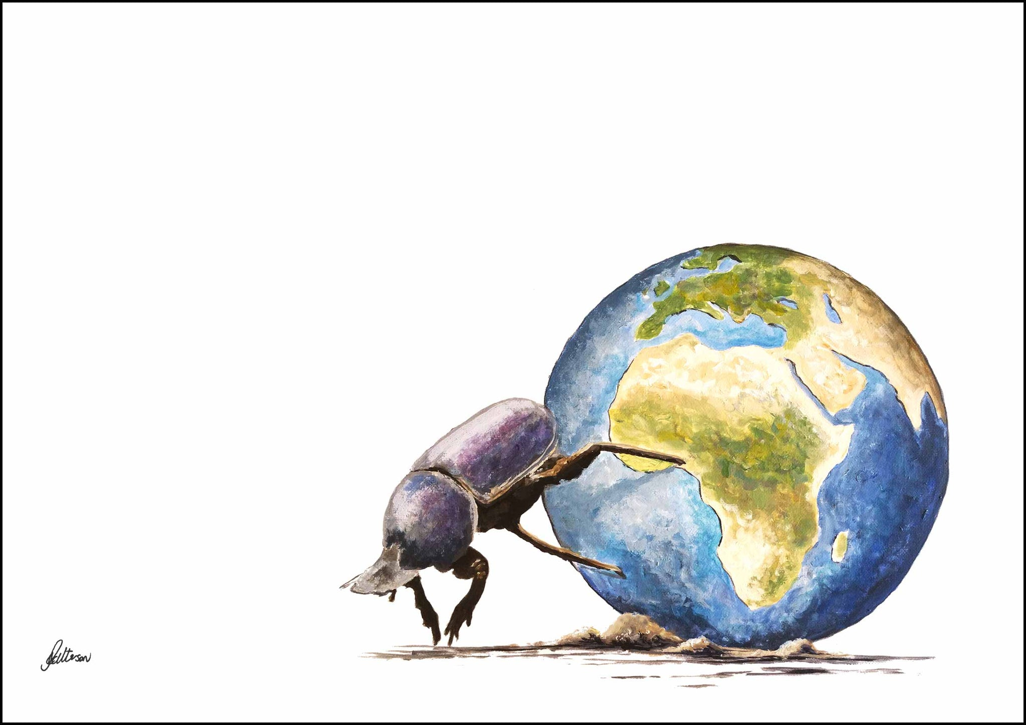 Limited Edition Print Wildlife in colour - Dung Beetle Pushing Earth