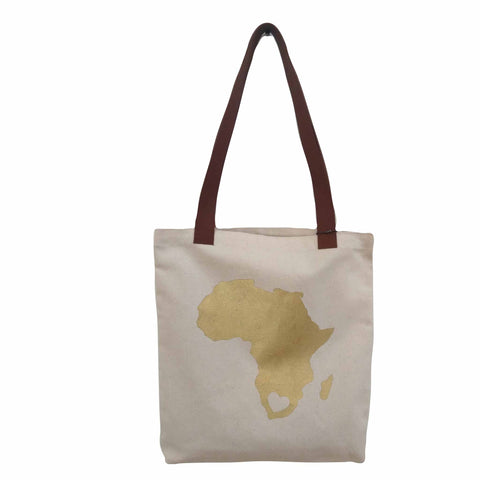 Tote Bag - Gold Africa Heart