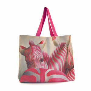 Large Canvas Bag - Pink Zebra