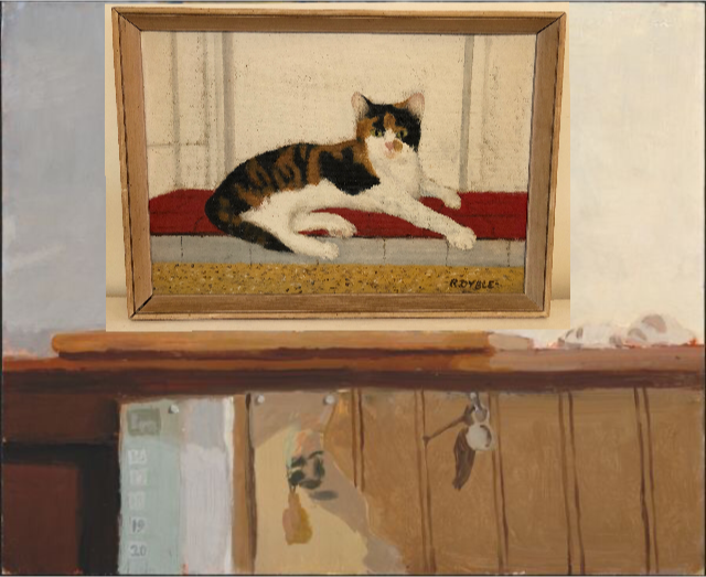 fedden cat oil painting on board
