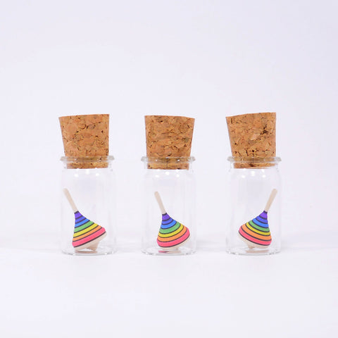 Mader Miniature Spinning Top in Glass Rainbow