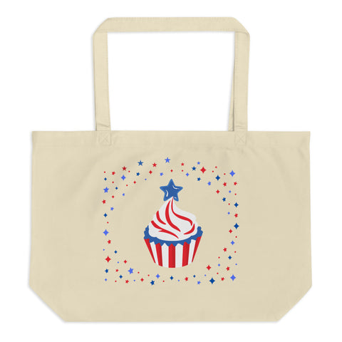 Holiday Cupcake Large Organic Tote Bag