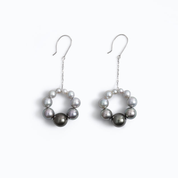 Graduated Pearl Loop Earrings