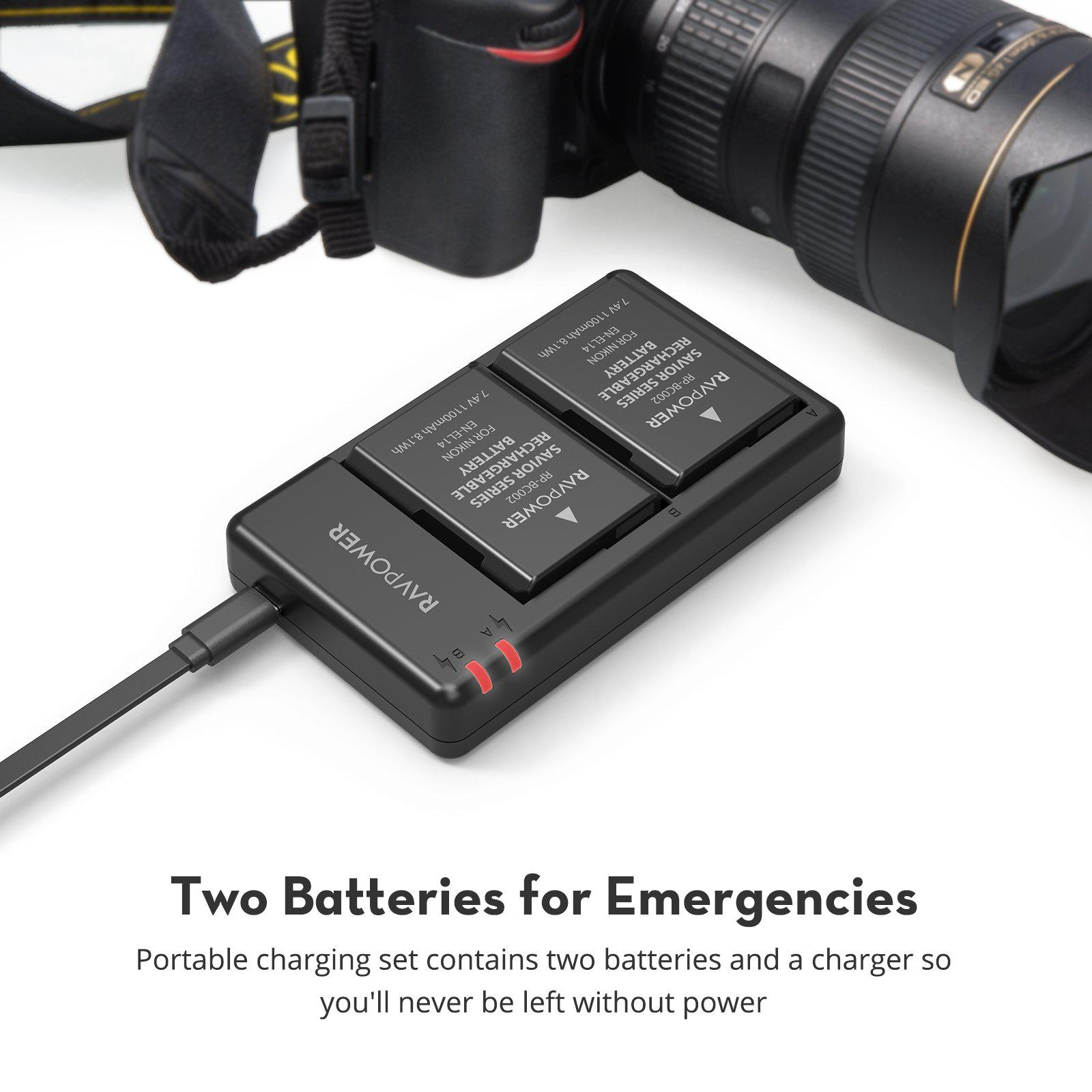 EN-EL14 EN EL14A Battery Charger & 2-Pack Rechargeable Li-ion Batteries Compatible with Nikon