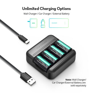 CR123A Rechargeable Battery With a USB Cable