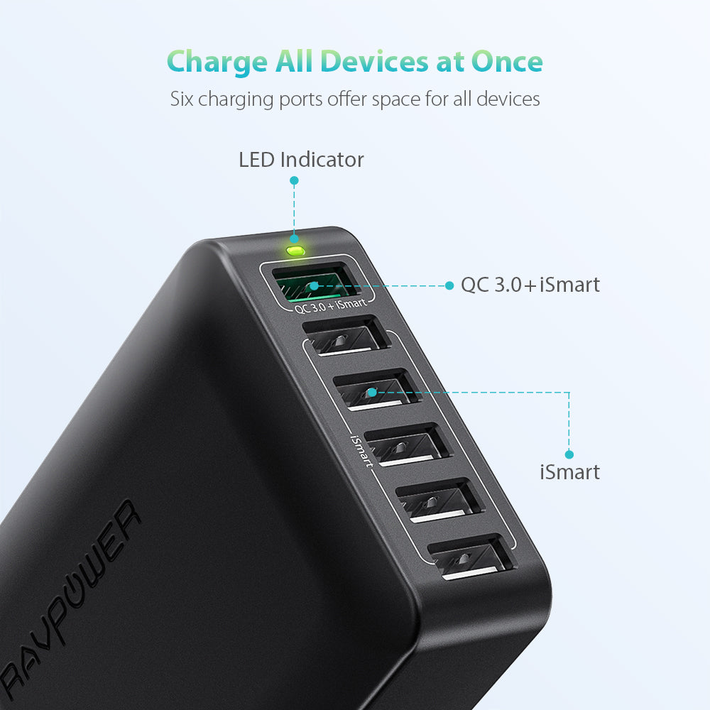 Turbo 60W 6-Port Desktop Charger-RAVPower