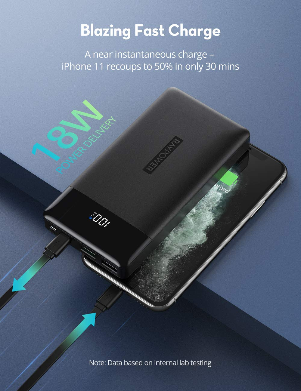 iPhone12 PD Pioneer 15000mAh 30W Portable Charger Tri-Output Power Bank-RAVPower