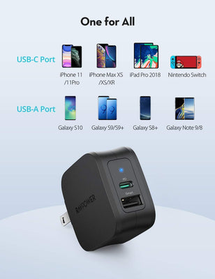 iPhone12 PD Pioneer 30W USB C Wall Charger Dual Port-RAVPower