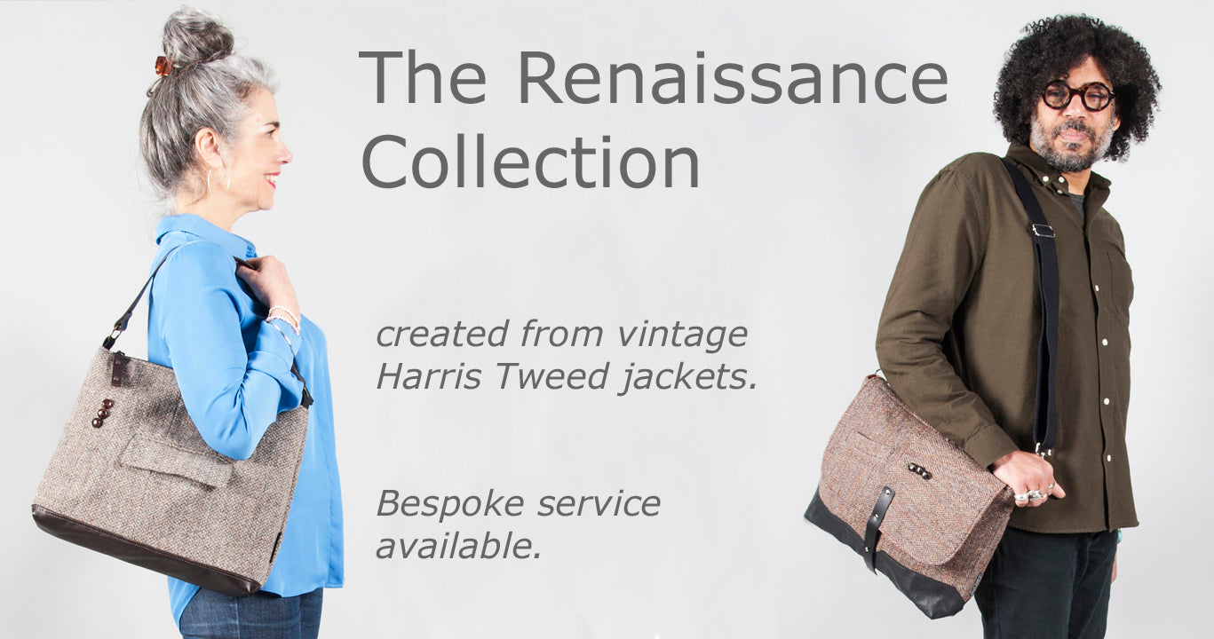 Bags created from vintage Harris Tweed jackets