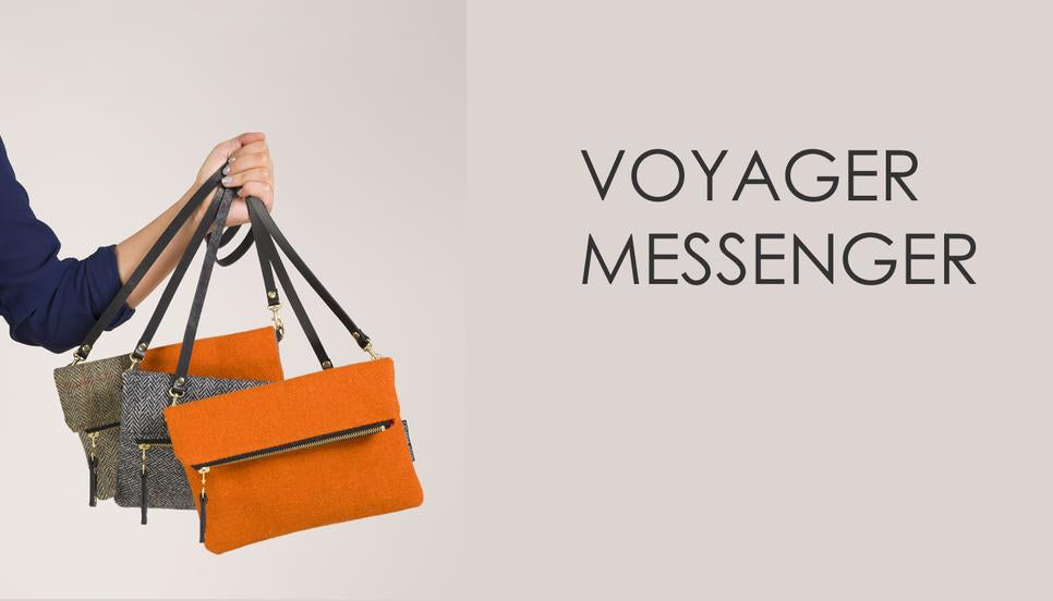 Gorgeous Harris Tweed Messenger in beautiful Orange and Green Check