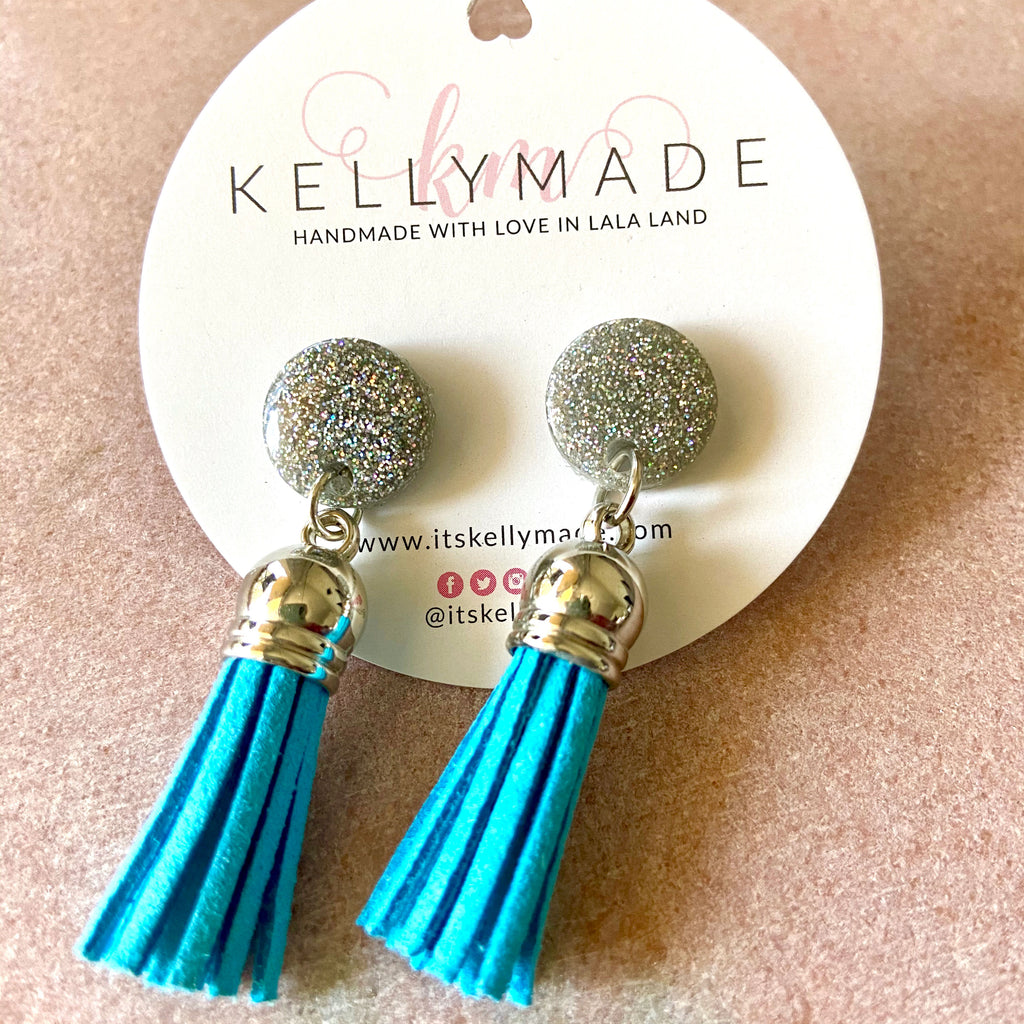 READY-TO-SHIP GLITTER DUSTERS - silver + blue