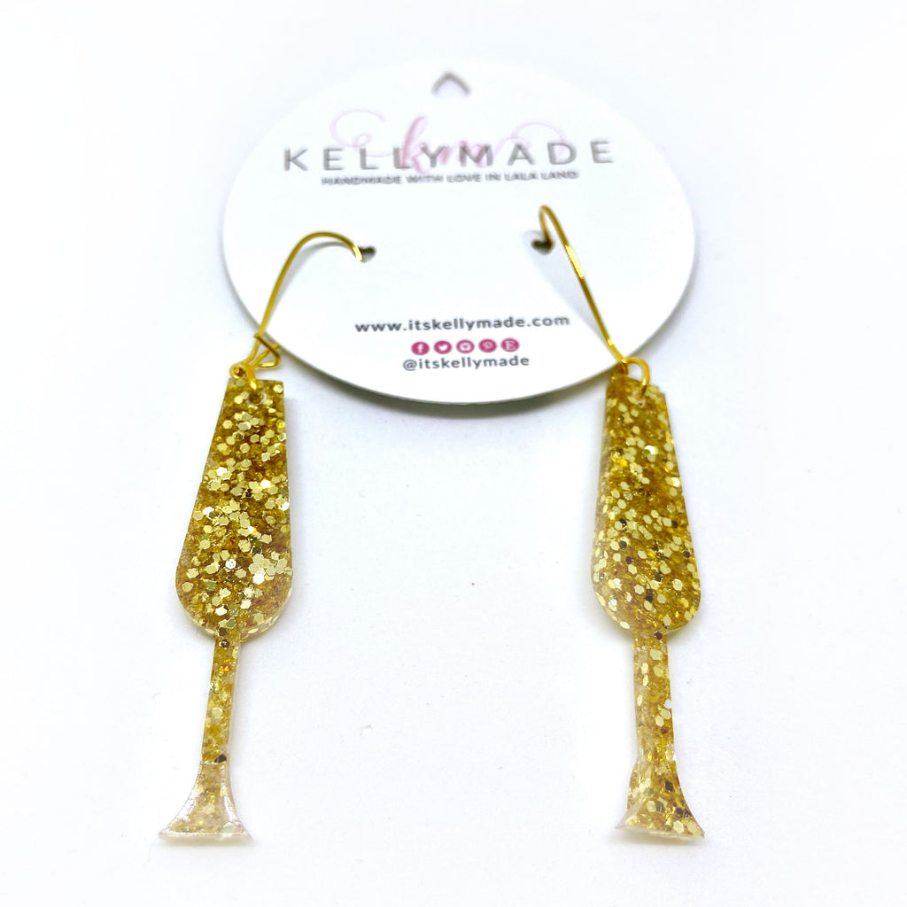 READY-TO-SHIP HAPPY HOUR CHAMPAGNE Dangle - gold