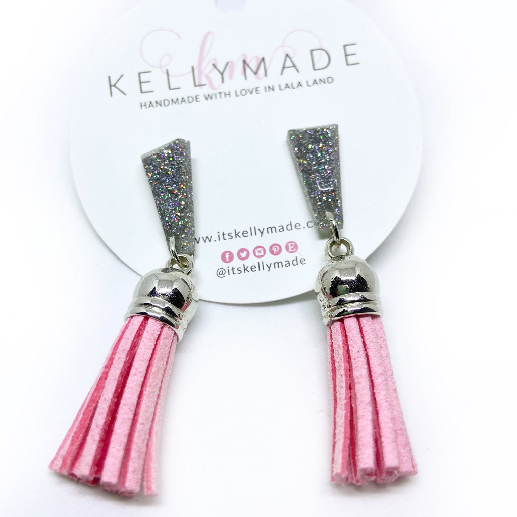READY-TO-SHIP GLITTER DUSTERS - silver + pink
