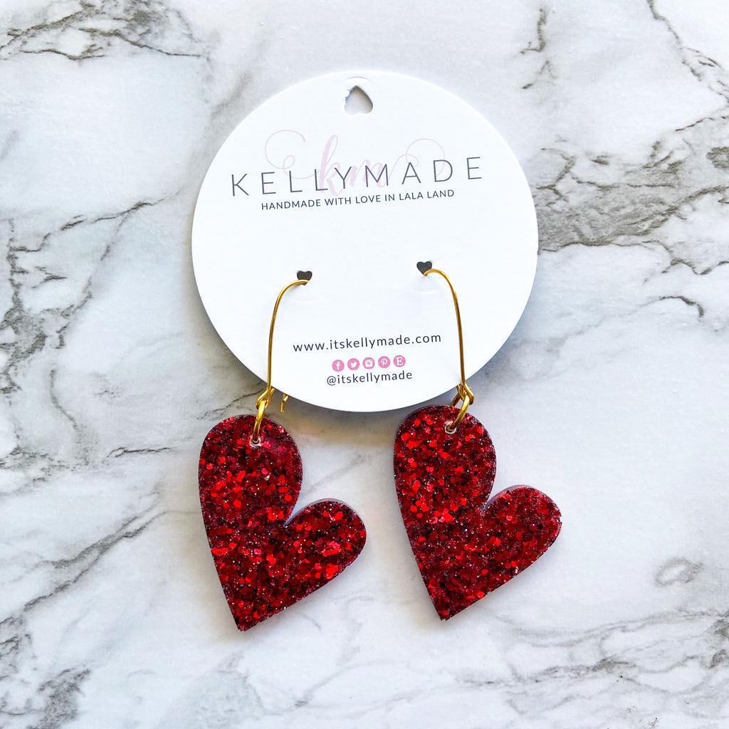 READY-TO-SHIP MEGA LOVE Dangles - chunky ruby red