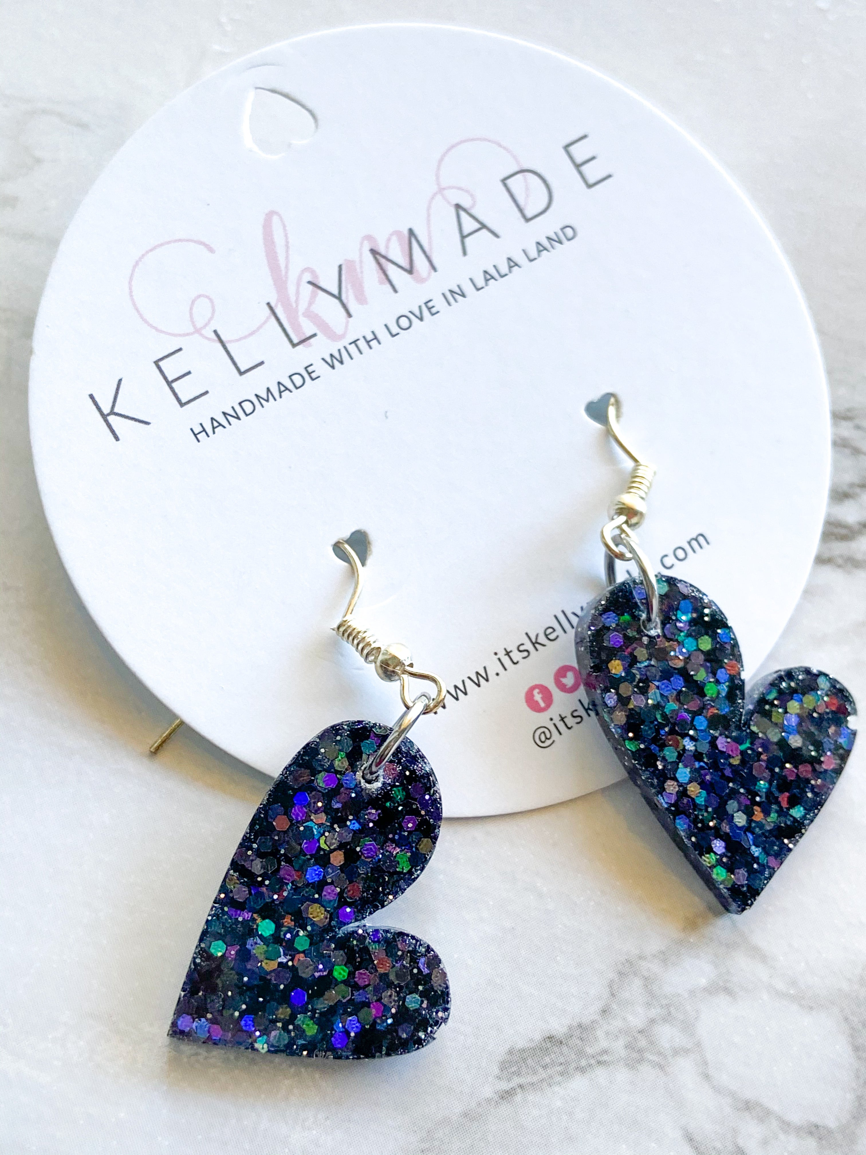 READY-TO-SHIP LOVE Dangles - holographic black