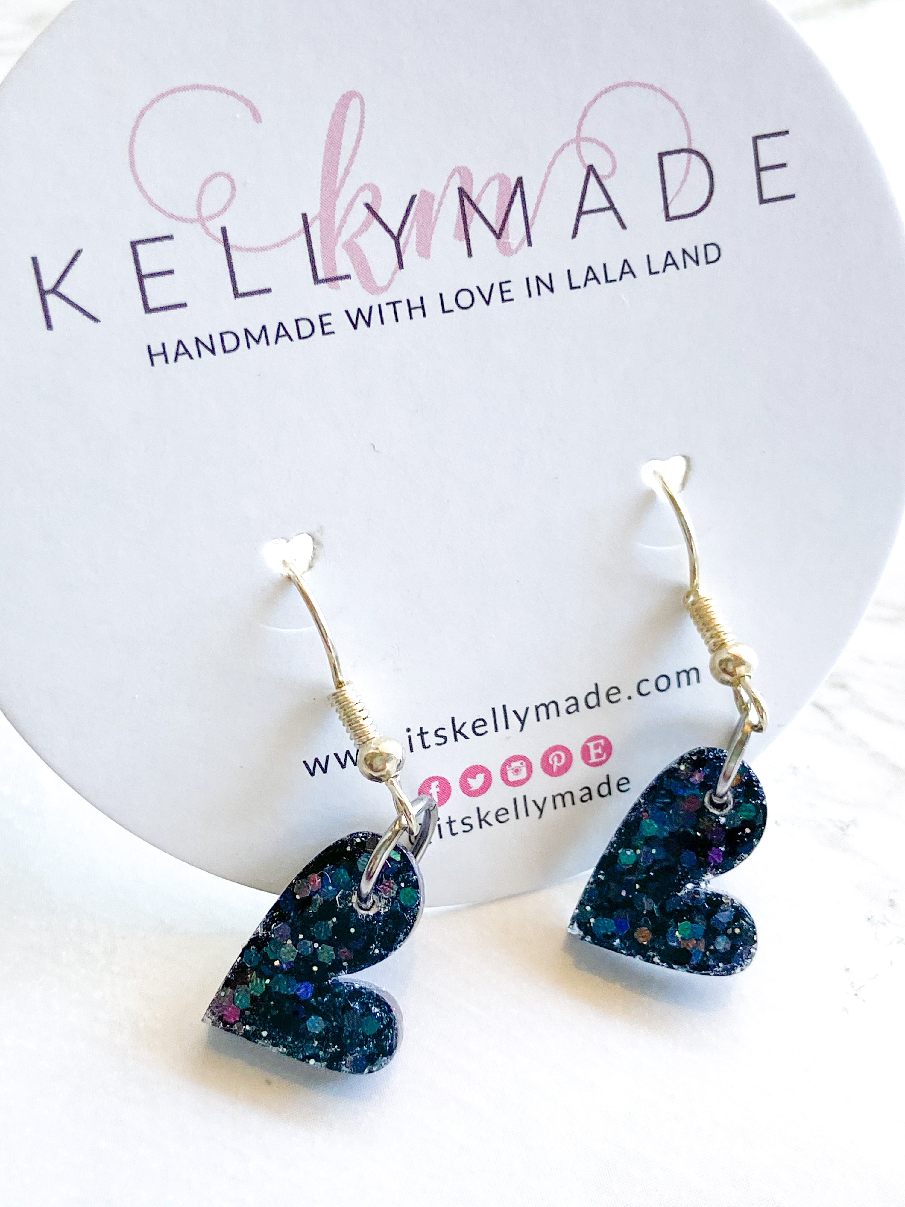 READY-TO-SHIP MINI LOVE Dangles - holographic black