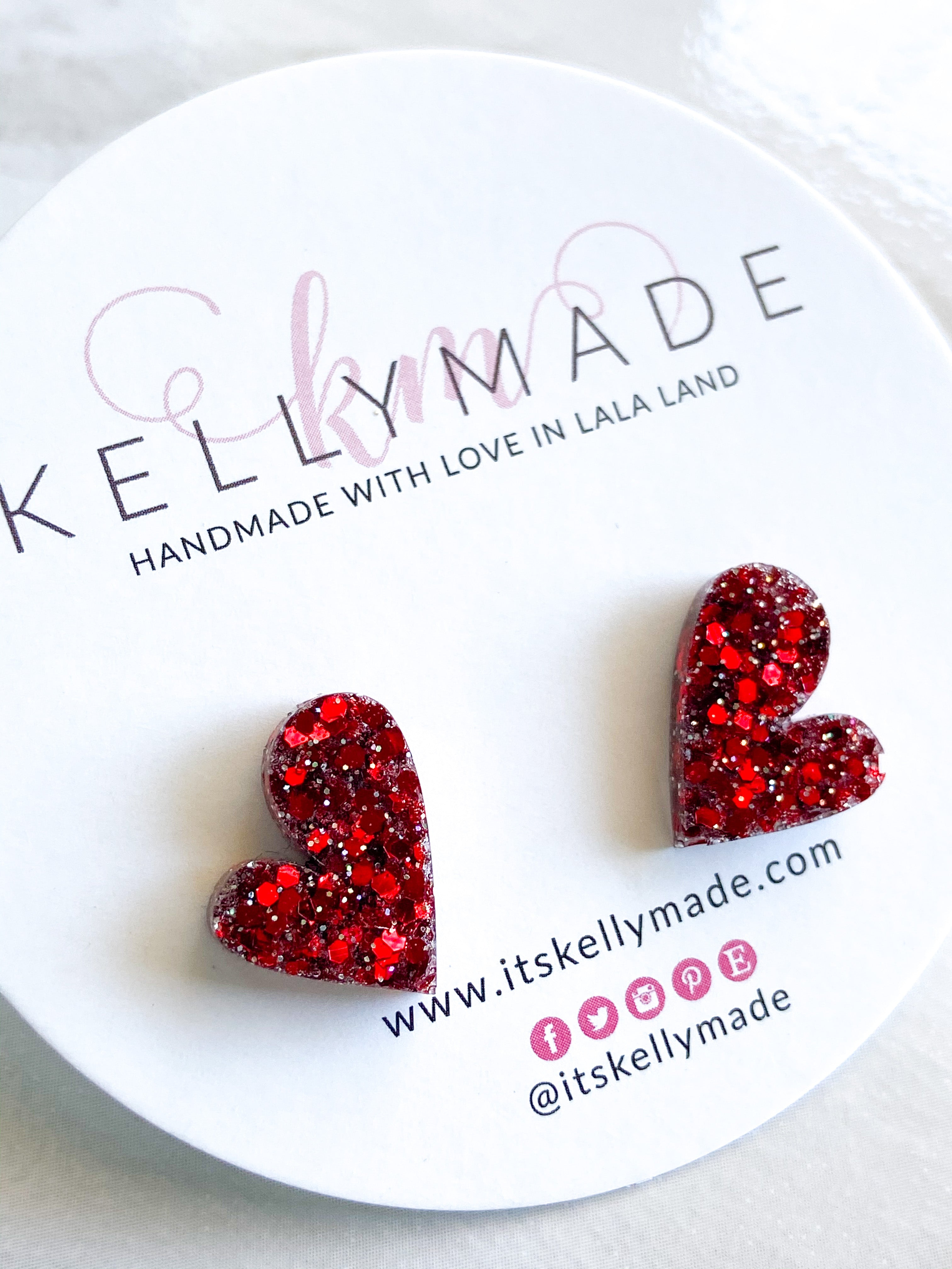 READY-TO-SHIP MINI LOVE Studs - chunky ruby red