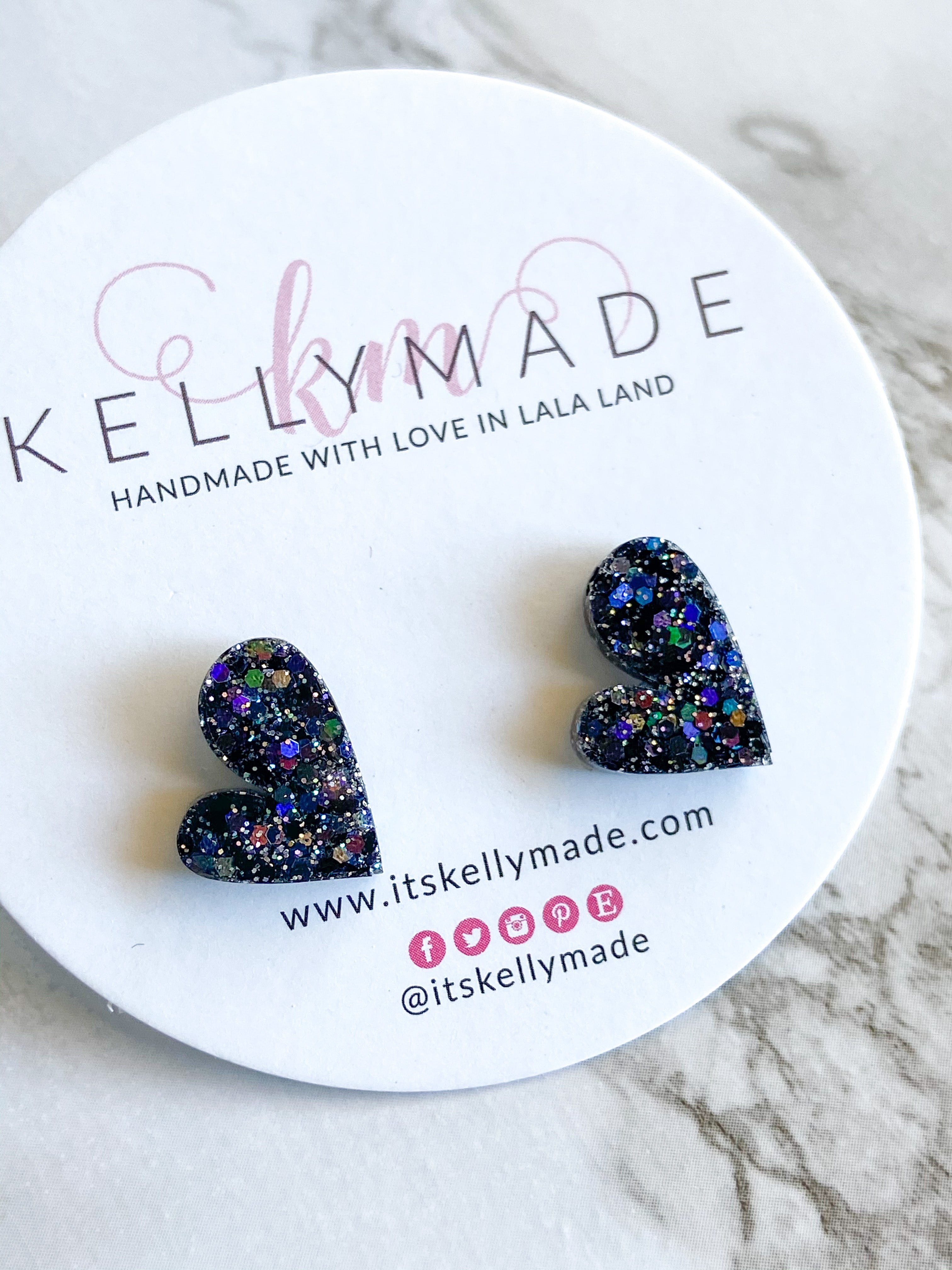 READY-TO-SHIP MINI LOVE Studs - holographic black