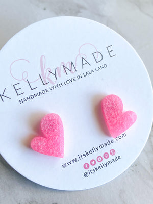 READY-TO-SHIP MINI LOVE Studs - inky pink
