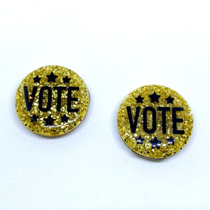 "VOTE • 1.5"" glitter button on wood base • ELECTION COLLECTION"
